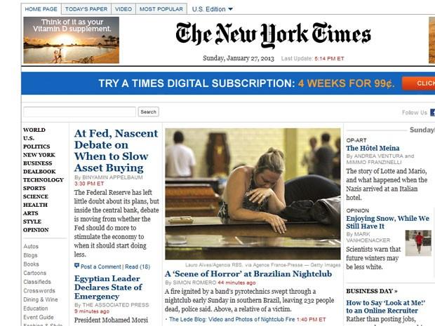 'Cena de horror', diz a reportagem do NYT sobre a tragédia em Santa Maria (Foto: Reprodução)