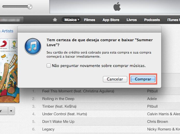 Confirmando uma compra na iTunes Store (Foto: Reprodução/Marvin Costa)