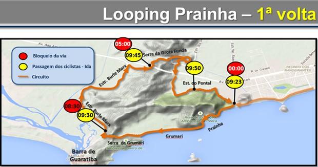 Primeiro looping na Prainha (Foto: Reprodução / CET-Rio)
