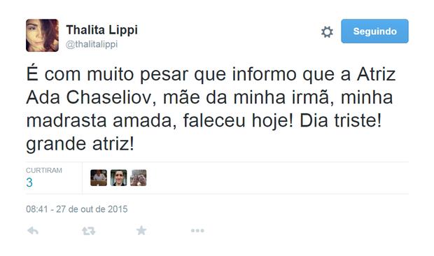 Thalita Lippi em post no Twitter (Foto: Reprodução)