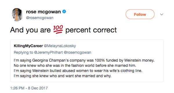 A mensagem da atriz Rose McGowan criticando sua ex-colega Alyssa Milano por apoio à ex-esposa de Harvey Weinstein (Foto: Twitter)