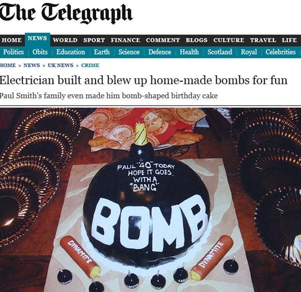 Eletricista teve bolo de aniversário em formato de bomba (Foto: Reprodução)