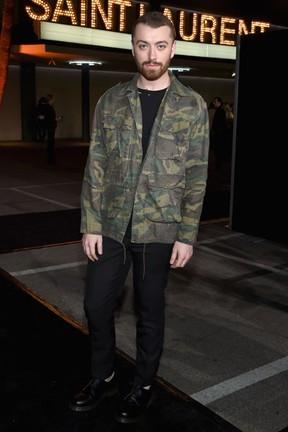 Sam Smith em evento de moda em Los Angeles, nos Estados Unidos (Foto: Larry Busacca/ Getty Images/ AFP)