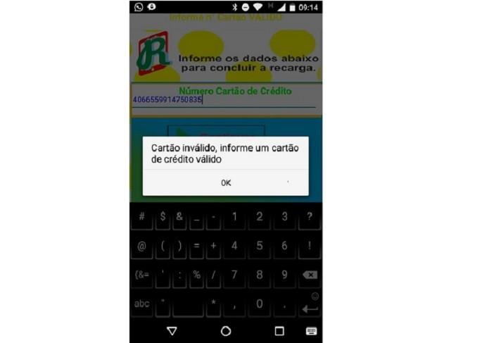 Screenshot do aplicativo falso Recarga Celular (Foto: Divulgação/Kaspersky)