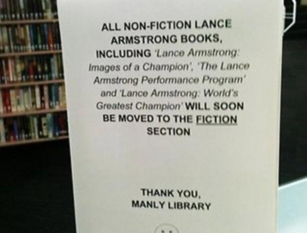 Aviso Biblioteca Lance Armstrong (Foto: Reprodução / Daily Mail)