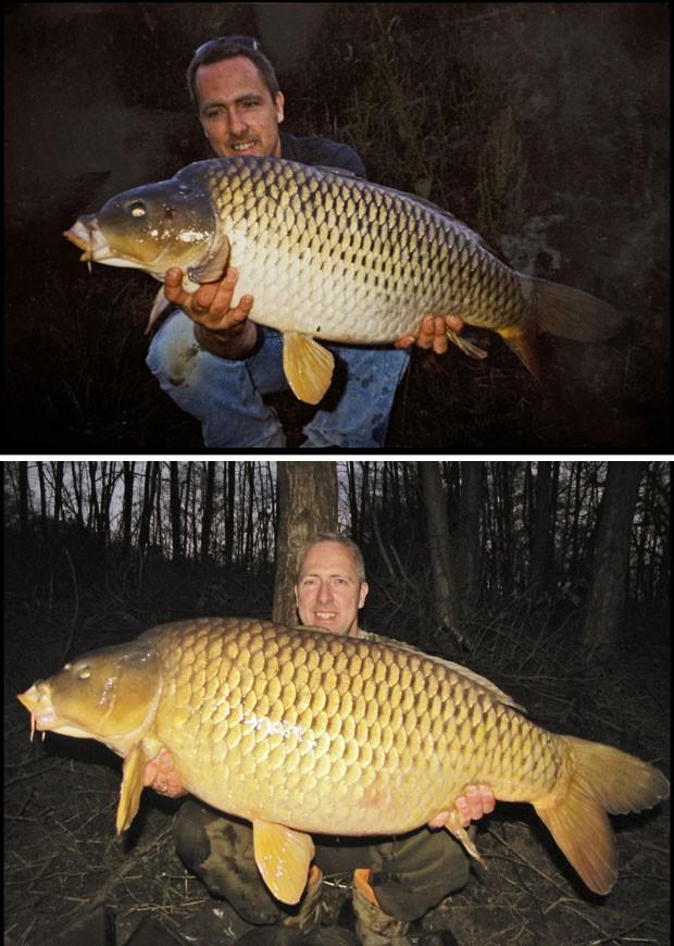 Acima, foto de 1999, da primeira vez em que Tim Cosens pescou a carpa. Abaixo, a foto mais recente, com o peixe que ele afirma ser o mesmo que pescou 14 anos atrás (Foto: BNPS/The Grosby Group)