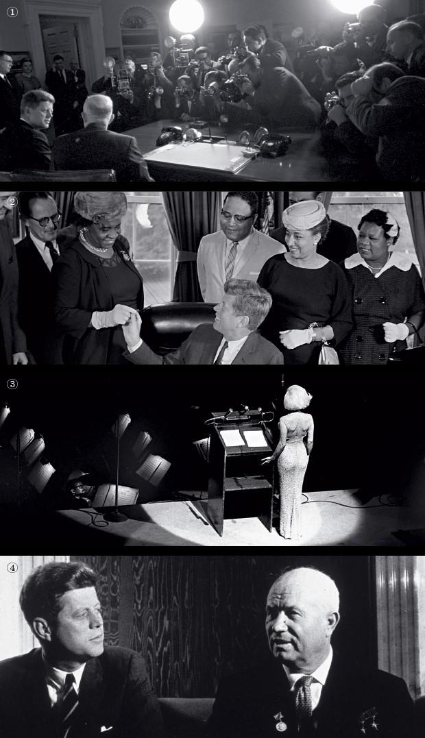 """CENAS DA HISTÓRIA 1. John Kennedy, já eleito, encontra-se com o então presidente Dwight Eisenhower  2. O presidente Kennedy em ato na Casa Branca, em homenagem a líderes negros  3. A atriz Marilyn Monroe canta """"Parabéns a você"""" no aniversário de Kennedy,  (Foto: George Tames/NYT, Allyn Baum/NYT, Bettmann/Corbis e MPI/Getty Images)"""