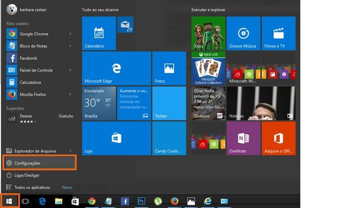 Acesse as configurações no menu Iniciar do Windows (Foto: Reprodução/Barbara Mannara)