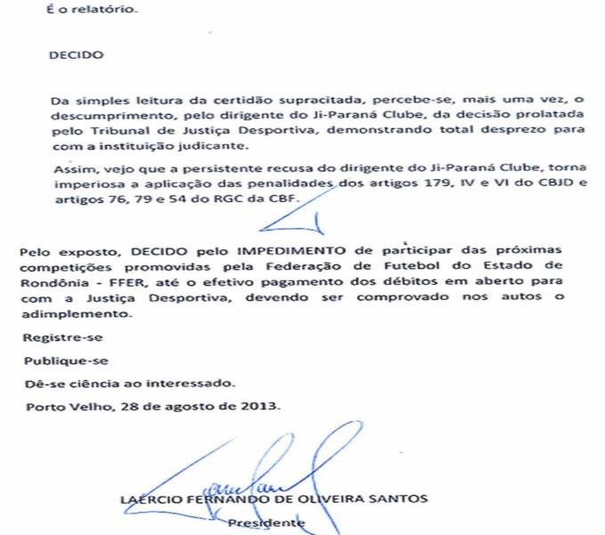 Ji-Paraná é punido pelo TJD/RO e não vai participar do Sub-16 (Foto: Reprodução/FFER)