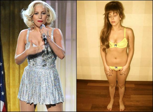 """Após vários sites e tabloides publicarem fotografias em que Lady Gaga aparentava estar mais pesada, a popstar publicou fotos de si mesma de biquíni na sua própria rede social, a LittleMonsters.Com, com a legenda: """"Anorexia e bulimia desde que eu tinha 15 anos"""". (Foto: Getty Images e LittleMonsters.Com)"""
