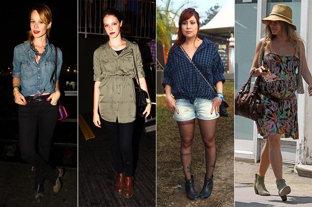 Estilo - Botinhas Chelsea - Mariana Ximenes, Laura Neiva, Pitty e Sienna Miller (Foto: Iwi Onodera / EGO || Getty Imaes)