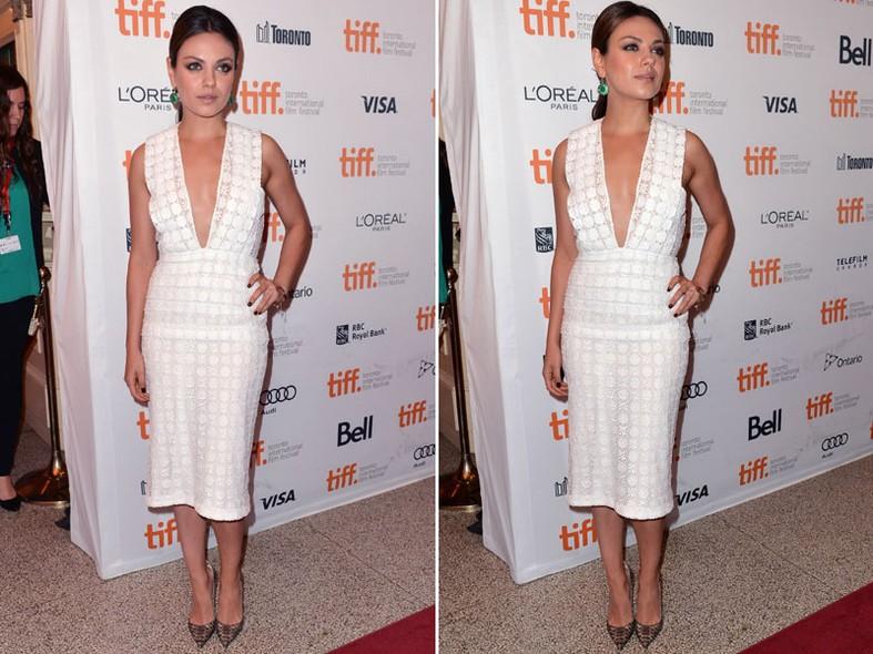 O decote ousado ganhou  destaque no vestido sequinho escolhido por Mila Kunis