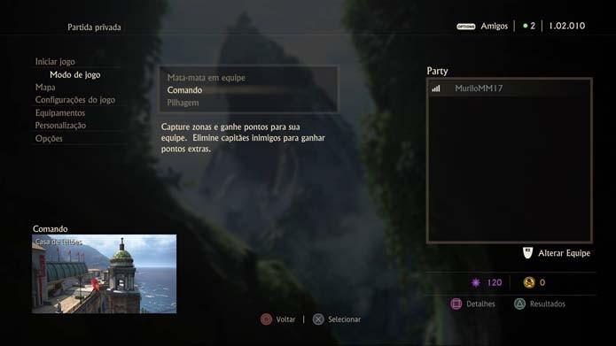 Selecione o modo de jogo de Uncharted 4 (Foto: Reprodução/Murilo Molina)
