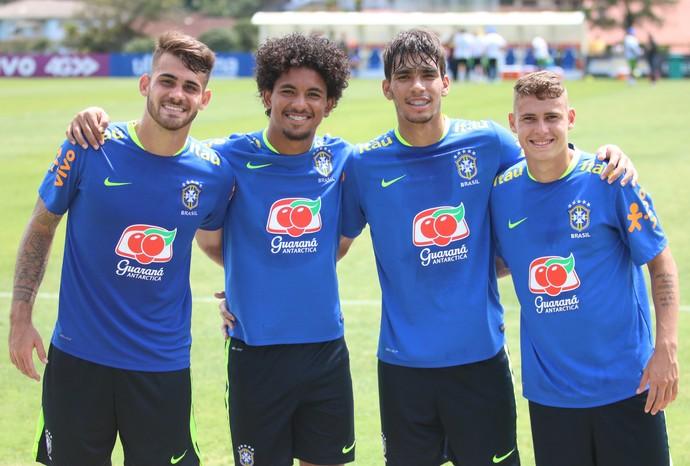 Felipe Vizeu, Douglas, Lucas Paquetá e Matheus Sávio seleção brasileira sub-20 (Foto: Lucas Loos / GloboEsporte.com)
