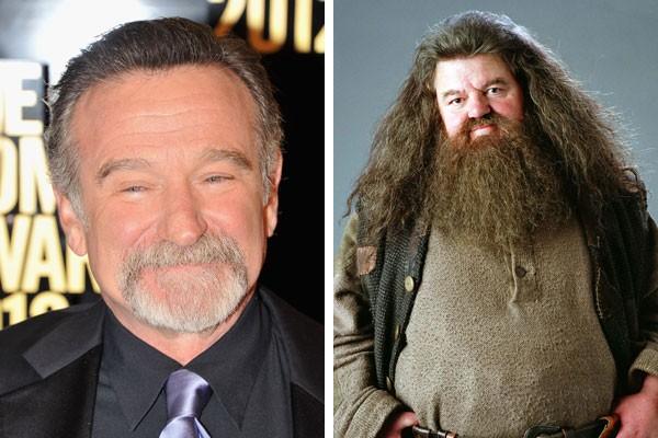 O ator Robin Williams, e Robbie Coltrane como Húbeo Hagrid (Foto: Getty Images/Reprodução)