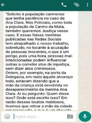 Mensagem do delegado Douglas Camarano de Castro sobre o caso Ana Clara (Foto: WhatsApp/Reprodução)