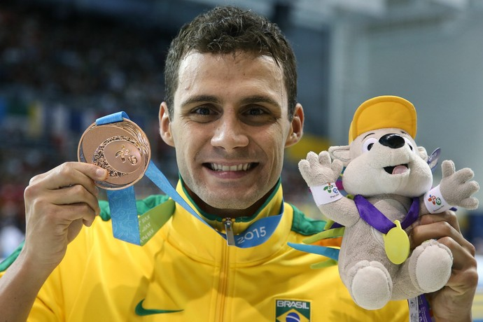 Leonardo de Deus bronze 200m costas Pan de Toronto natação (Foto: Satiro Sodré / SSPress)