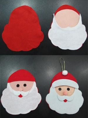 Passo a passo para fazer o enfeite de Papai Noel (Foto: Mariane Rossi/G1)