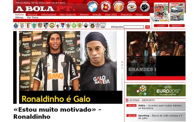 Jornal A Bola (Foto: Reprodução Site Oficial)
