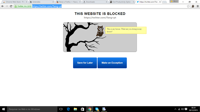 Productivity Owl bloqueia sites no Chrome e tem nível de confiabilidade (Foto: Reprodução/Elson de Souza)