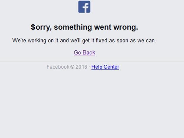 Facebook saiu do ar nesta sexta (Foto: Reprodução)
