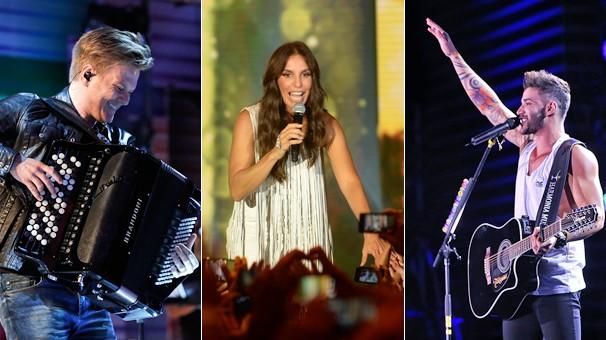 Michel Teló, no Sai do Chão, Ivete Sangalo, no Show da Virada, e Gusttavo Lima, no Sintonize, atrações do fim de ano da Globo (Foto: Globo)