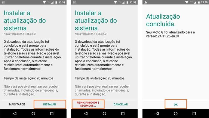 O celular será reinicializado para a instalação do Android 6.0 no Moto G (Foto: Reprodução/Barbara Mannara)