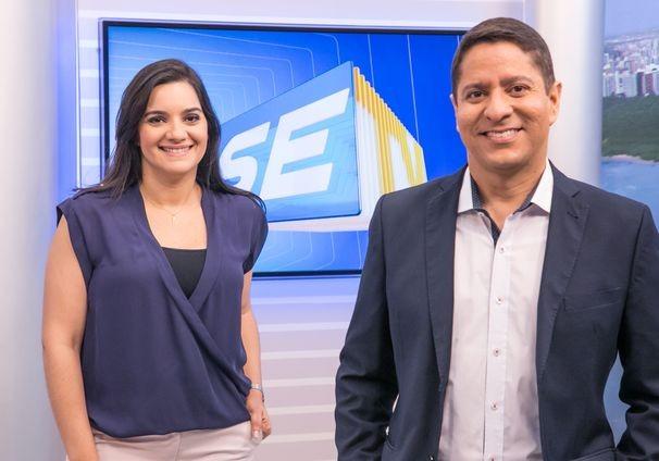 Lanne Pacheco e Ricardo Marques apresentam o SETV 1ª Edição (Foto: Divulgação/TV Sergipe)