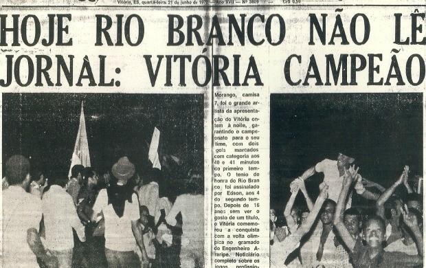 Jornal O Diária sobre o título do Campeonato da Cidade do Vitória-ES (Foto: Acervo do Vitória Futebol Clube)