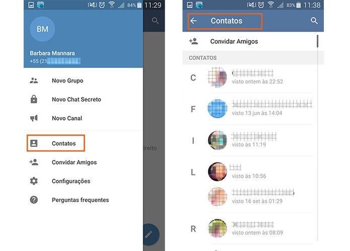 Encontre contatos no Telegram (Foto: Reprodução/Barbara Mannara)