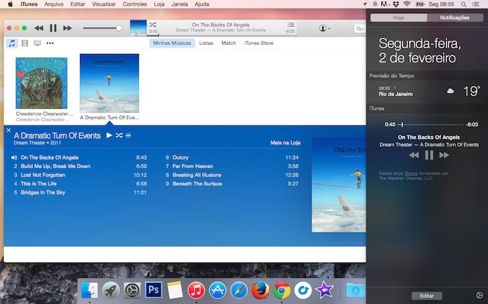 No widget, é possível trocar de faixa e pausar a música (Foto: Reprodução)