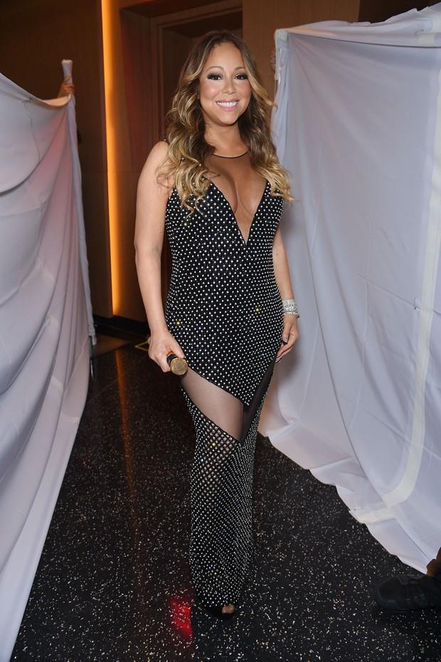Mariah Carey em bastidores de show em Nova York, nos Estados Unidos (Foto: Dimitrios Kambouris/ Getty Images/ AFP)