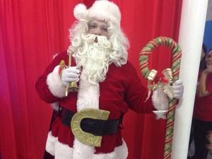 Jorge vestido de Papai Noel em João Pessoa (Foto: Deborah Rocha/Arquivo pessoal)