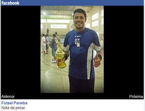 Handerson das Neves Francisco, goleiro do Catolé SC/Riacho dos Cavalos, time de futsal da Paraíba (Foto: Reprodução / Facebook)