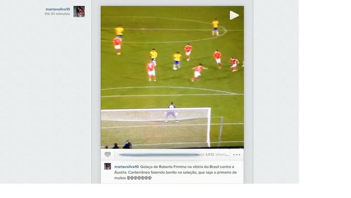 Marta parabeniza Roberto Firmino por golaço na Seleção (Foto: Reprodução/Instagram)