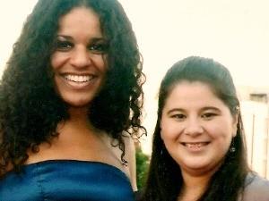 Gaúcha Ana Lonardi no The Voice Brasil com a amiga Michelle La Porta (Foto: Arquivo Pessoal)