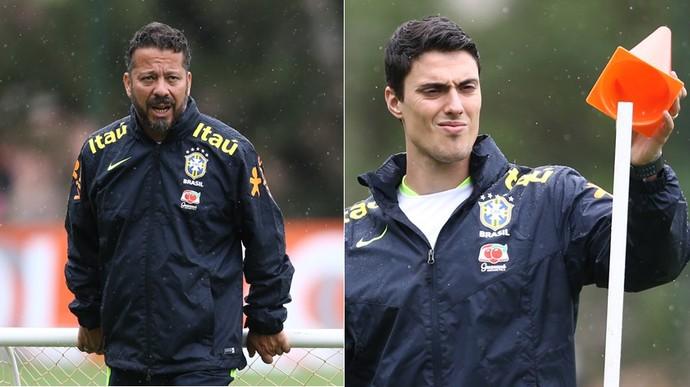 Cleber Xavier e Matheus Bachi auxiliares Brasil seleção brasileira (Foto: Lucas Figueiredo/CBF)