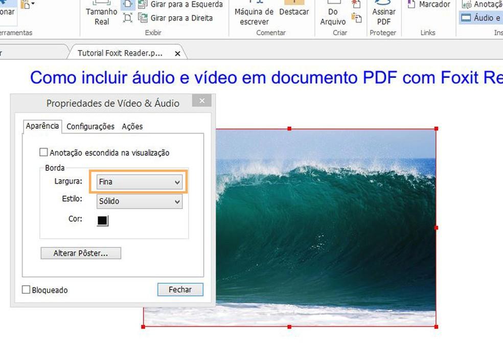 Edite a largura da borda do arquivo de acordo com a sua preferência  (Foto: Reprodução/Davi de Lima)