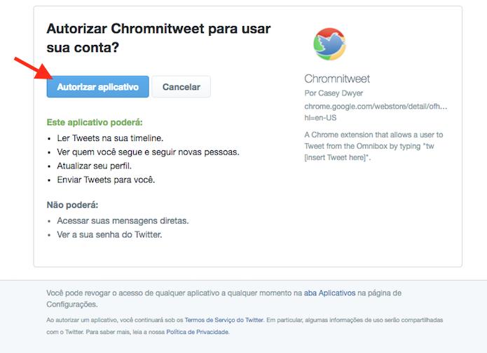 Opção para autorizar a integração entre o Twitter e o Chromnitweet (Foto: Reprodução/Marvin Costa)