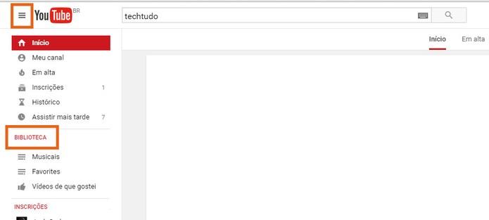 Selecione o item de biblioteca na lateral da tela do YouTube (Foto: Reprodução/Barbara Mannara)
