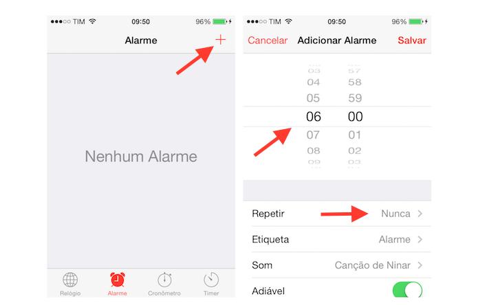 Configurando um alarme ao despertador do iPhone (Foto: Reprodução/Marvin Costa)