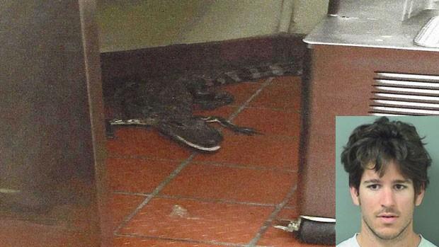 Jovem foi indiciado por lançar jacaré vivo em restaurante nos EUA (Foto: Palm Beach County Sheriff's Office/AP)