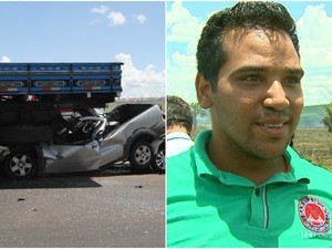 Rapaz de 24 anos saiu ileso após carro em que estava entrou embaixo de caminhão em São Carlos (Foto: Maurício Duch/Arquivo Pessoal e Felipe Lazzarotto/EPTV)