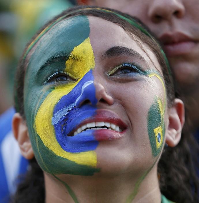 Tristeza de torcedora na Fan Fest de Brasília