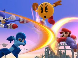 Pac-Man, Sonic, Mario e Mega Man se enfrentam em 'Super Smash Bros.' (Foto: Divulgação/Nintendo)