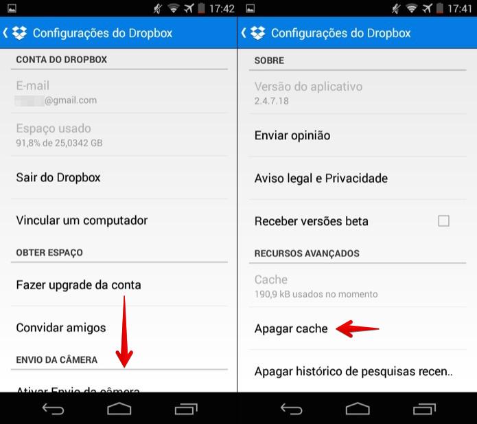 Limpando cache do Dropbox no Android (Foto: Reprodução/Helito Bijora)