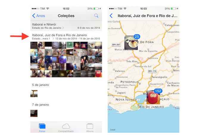 Visualizando as fotos do iOS de acordo com o local onde elas foram feitas (Foto: Reprodução/Marvin Costa)