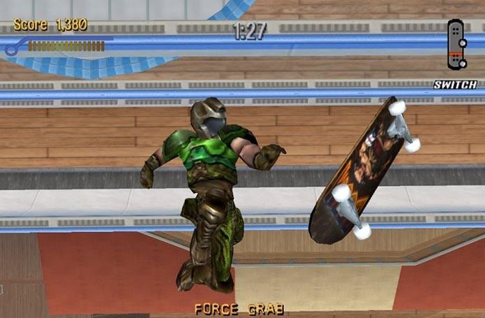 Skatista inspirado em Doom estava em um dos games (Foto: Reprodução)