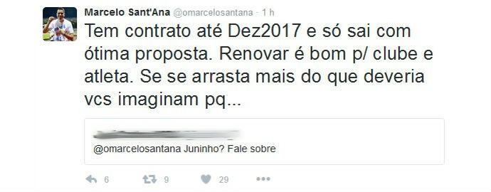 Marcelo Sant'Ana fala sobre renovação de Juninho (Foto: Reprodução / Twitter)