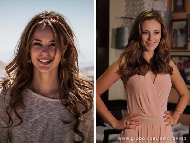 Veja acima as duas fases do cabelo da personagem (Foto: Amor à Vida / TV Globo)